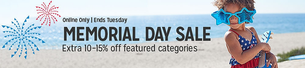 Memorial Day Sale, Online only, Ends Tuesday