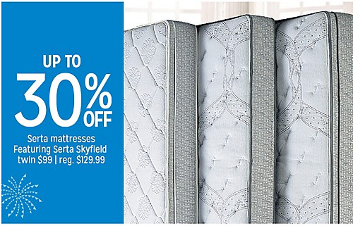 Up to 30% off Serta mattresses on sale Featuring Serta Skyfield twin for $99 reg. $129.99