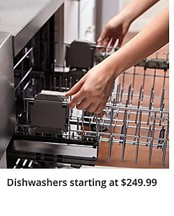 Up to 40% off dishwashers starting at $249.99