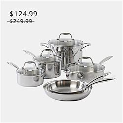 Kenmore Tri-Ply - Set de utensilios de cocina de acero inoxidable, 10 piezas