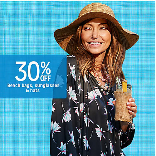 30% off beach bags, sunglasses & hats