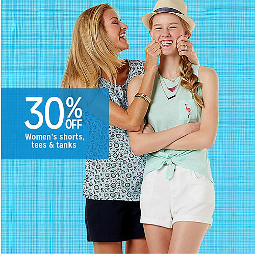 30% off women's shorts, tees & tanks