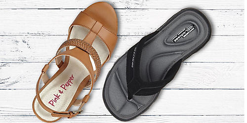 Sandals for the family, starting at $14.99. Plus, spend $40 on shoes, get an extra 15% off with code: SHOE15