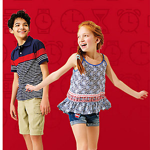 Up to 50% off tops and shorts for her, him & kids