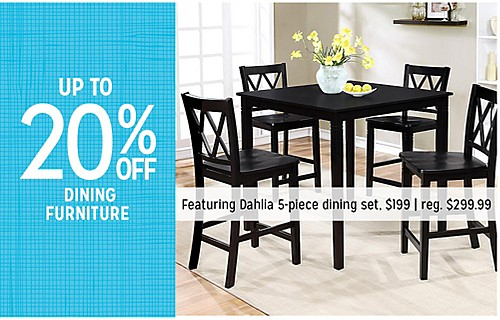 UP TO 20% OFF DINING FURNITURE | Featuring Dahlia 5-piece dining set. $199 | reg. $299.99