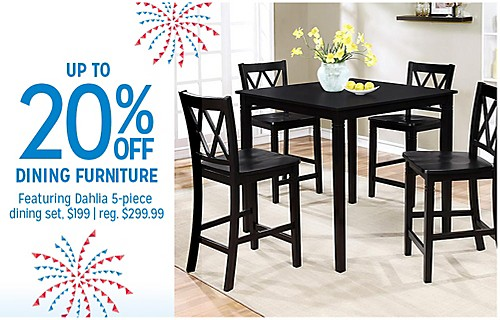 UP TO 20% OFF DINING FURNITURE | Featuing Dahlia 5-piece dining set. $199 | reg. $299.99