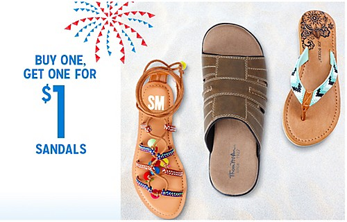 BUY ONE, GET ONE FOR $1 SANDALS