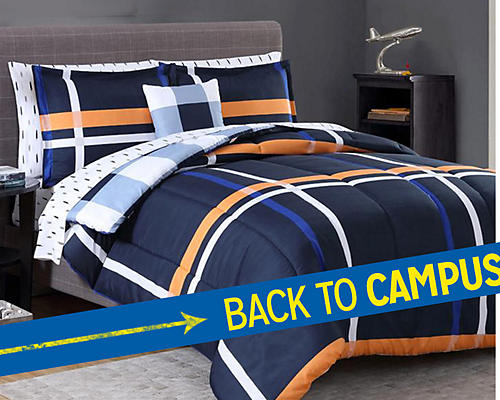 Back to Campus | Essential Home complete bed sets | Featuring 4 patterns in twin/twin XL, $32.99