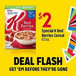 DEAL FLASH | GET 'EM BEFORE THEY'RE GONE | $2 Special K Red Berries Cereal 112 oz.