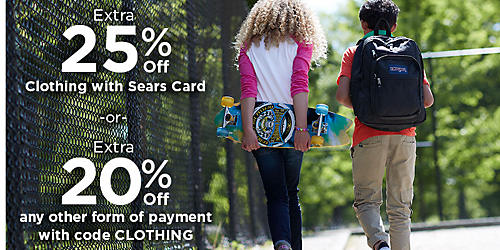 Extra 25% off Clothing with Sears card