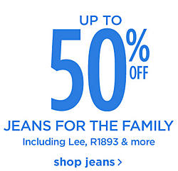 Up to 50% off Jeans for the Family including Lee, R1893 and More Shop Jeans