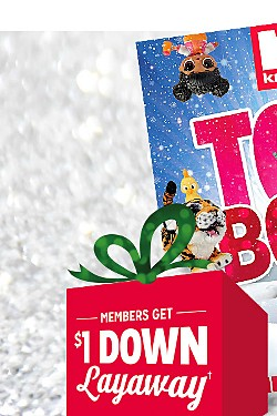 Get the hottest toys of the season today with $1 Layaway | Members get $1 down Layaway