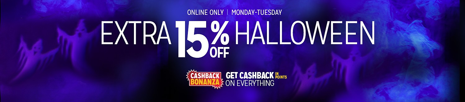 CASHBACK BONANZA | GET $5 CASHBACK IN POINTS ON COSTUME PURCHASE OF $25 | UP TO 40% OFF HALLOWEEN COSTUMES | Plus, exta 10% off with online code KBOO | Shop Now