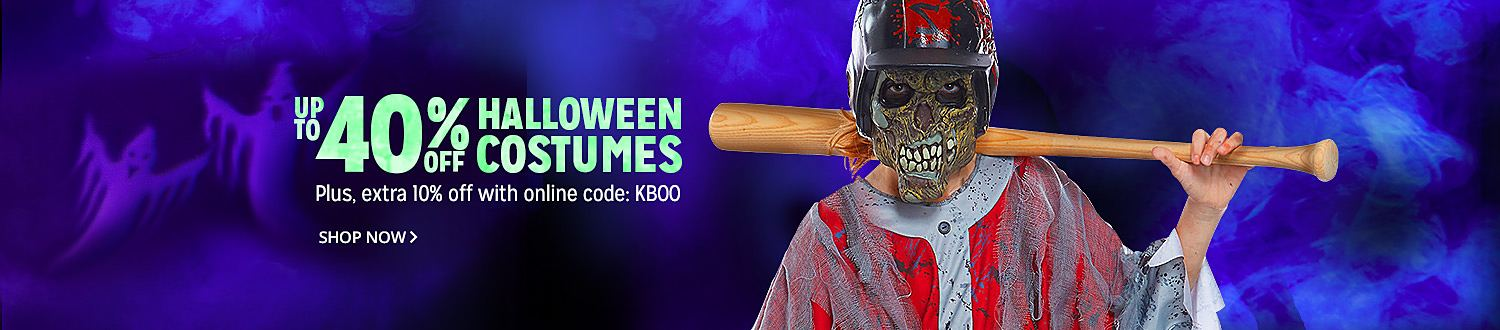 UP TO 40% OFF HALLOWEEN COSTUMES| Plus, exta 10% off with online code: KBOO | Shop Now