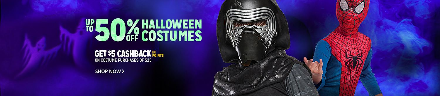 UP TO 50% OFF HALLOWEEN COSTUMES | GET $5 CASHBACK IN POINTS ON COSTUME PURCHASE OF $25 | SHOP NOW