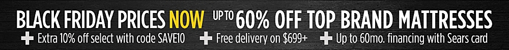 Black Friday Now - up to 60% off top mattress brands + 5% cashback in points +free delivery on $699 or more