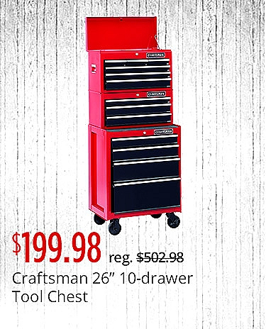 Craftsman 10 Drawer Tool Chest $199.99