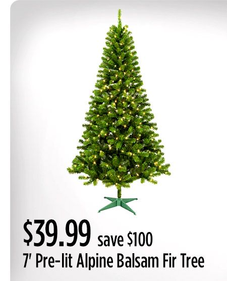 $39.99 7' Pre-lit Alpine Balsam Fir Tree