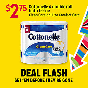 DEAL FLASH | $3 Cottonelle 4 double roll bath tissue Clean Care or Ultra Comfort Care | GET 'EM BEFORE THEY'RE GONE