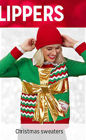 50% OFF CLOTHING & SLIPPERS | Shop Christmas sweaters