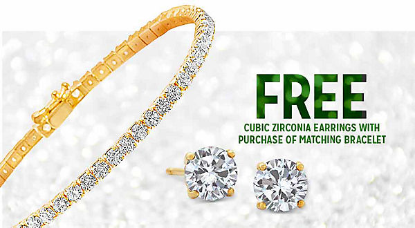 FREE CUBIC ZIRCONIA EARRINGS WITH PURCHASE OF MATCHING BRACELET