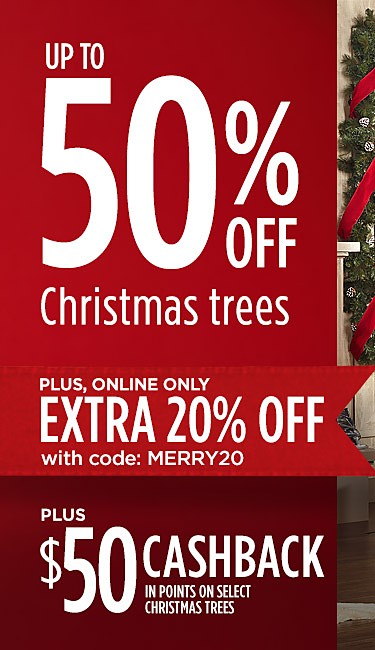 Up to 50% off Christmas trees + EXTRA 20% off online w/ code: MERRY20