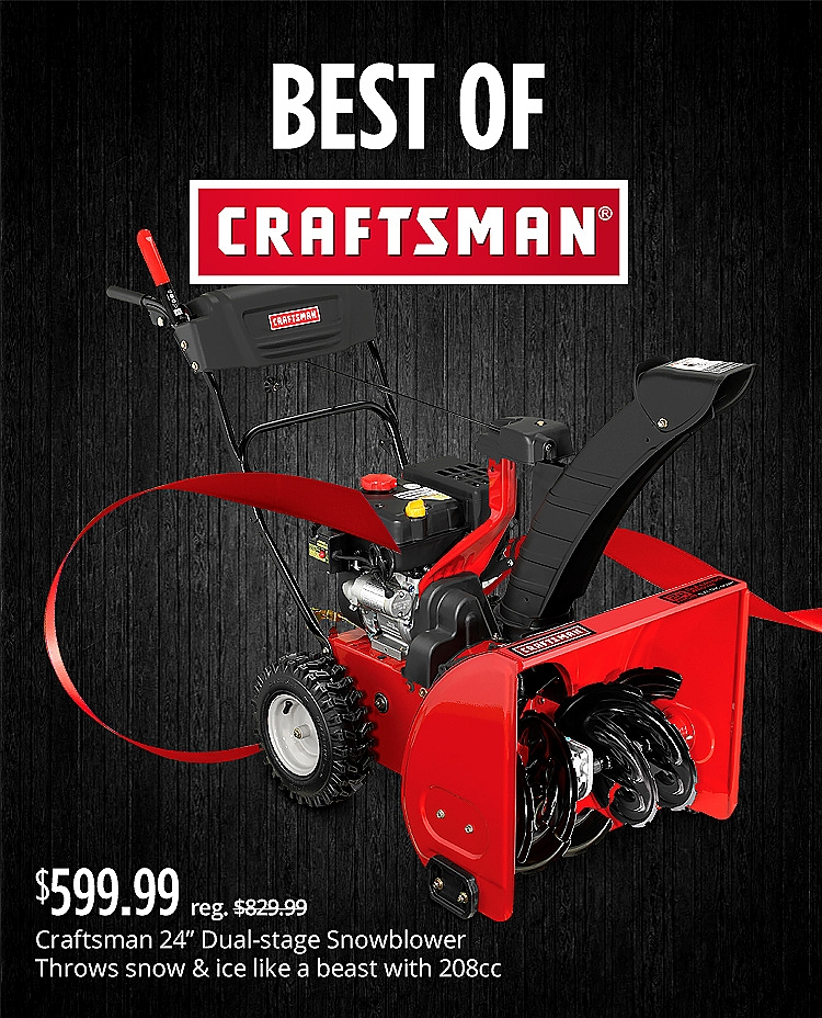 "$599.99 | reg $829.99 Craftsman 88173 24"" 208cc Dual-Stage Gas Snowblower"