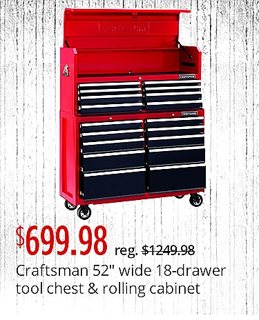 "Craftsman 52"" Wide 18-Drawer Soft Close Tool Chest and Rolling Cabinet Combination - Red/Black $699.98"