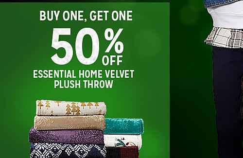 BUY ONE, GET ONE 50% OFF ESSENTIAL HOME VELVET PLUSH THROW