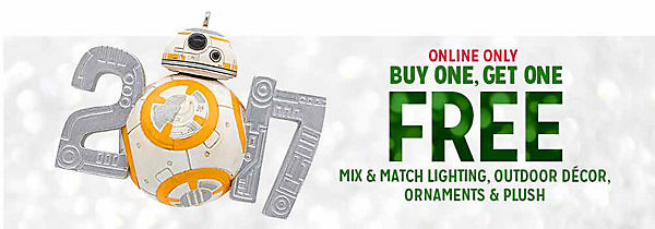 BUY ONE, GET ONE FREE mix & match Christmas lights, ornaments, outdoor decor & plush