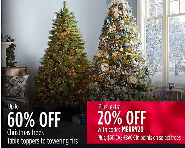 Up to 60% off Christmas trees + extra 20% off with code: MERRY20 + $50 CASHBACK in points on select trees