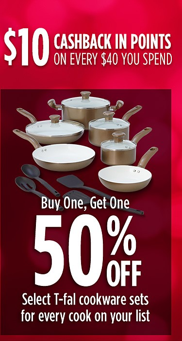 Buy one, get one 50% off select T-Fal cookware sets