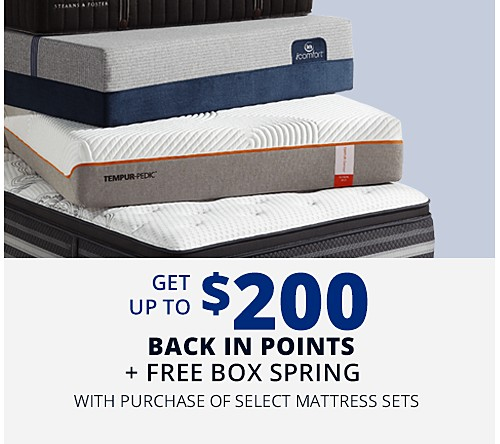 Get up to $200 CASHBACK in points on select mattress sets