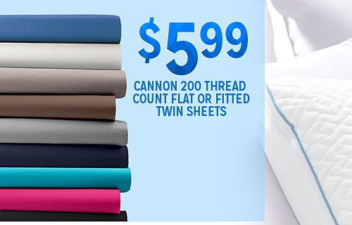 WHITE SALE | $5.99 CANNON Microfiber Twin Flat or Fitted Sheet
