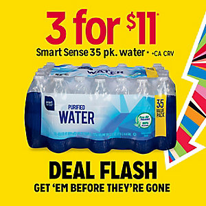 DEAL FLASH | 3 for $11 Smart Sense 35pk water | GET 'EM BEFRORE THEY'RE GONE