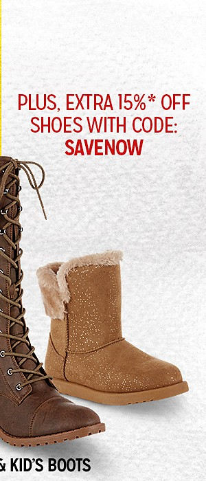 Up to 60% off shoes plus extra 15% off with code SAVENOW