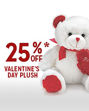 TREAT YOUR SWEETHEART | 25% OFF* VALENTINE'S DAY PLUSH | PLUS EXTRA 15% OFF WITH CODE: SAVENOW