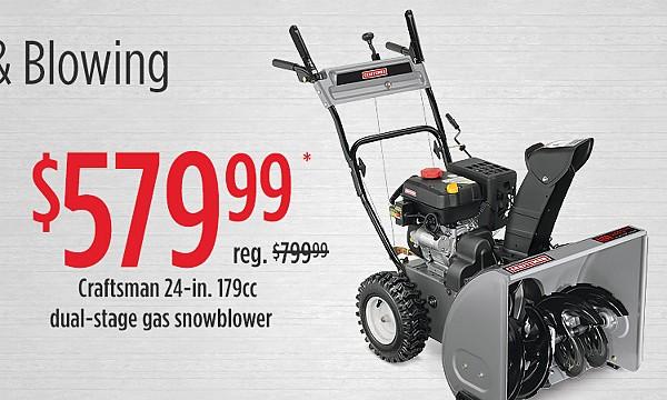 "$579.99 Craftsman 88172 24"" 179cc Dual-Stage Gas Snowblower"