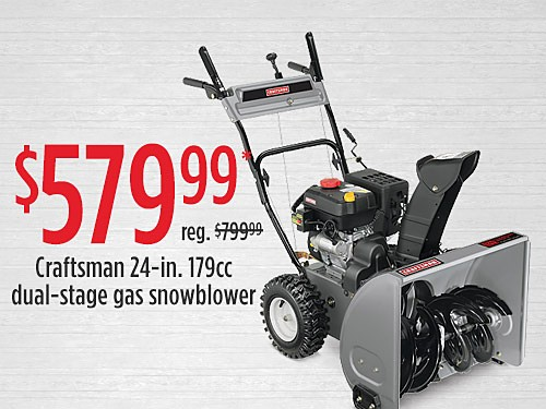 "$579.99 Craftsman 88172 24"" 179cc Dual-Stage Gas Snowblower"
