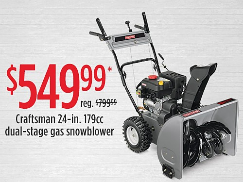 "$549.99 Craftsman 88172 24"" 179cc Dual-Stage Gas Snowblower"