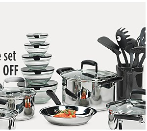 Essential Home 25-pc cookware set $89.99, Sale $59.99 plus additional cookware up to 10% off