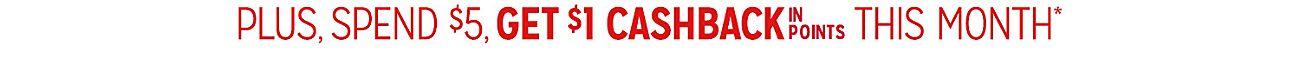 SPEND $10, GET 100% CASHBACK IN POINTS | SPEND $5, GET $1 CASHBACK IN POINTS