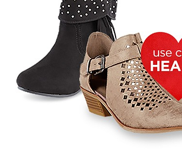 Extra 25% off When you Buy Online, Pick Up In-Store | Extra 20% off When You Ship to Home on shoes with code HEARTS