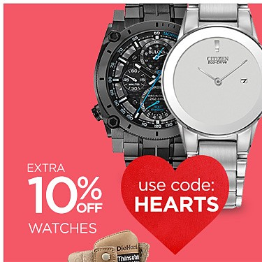 Extra 10% Off Watches (Already Up to 25% Off) with Code: HEARTS