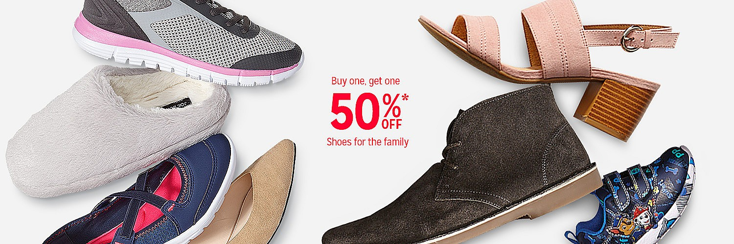 Buy one, get one 50% off shoes for the family
