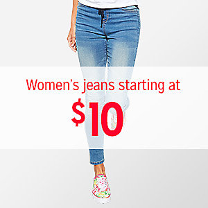 Women's jeans, starting at $10