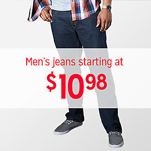 Men's jeans, starting at $10.98