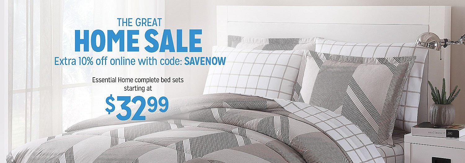The Great Home Sale | Extra 10% off Home with code SAVENOW | Essential Home complete twin bed sets, $32.99