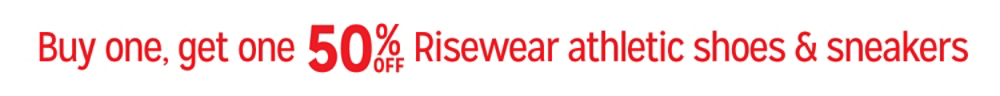 Buy one pair, get one 50% off Risewear athletic shoes & sneakers