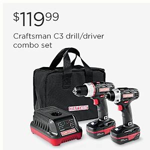 $119.99 Craftsman C3 drill/driver combo set